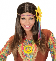60's 70's Brown Hippie Wig with Sunflower (04657)